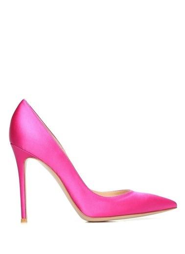 Gianvito Rossi %100 İpek Stiletto Ayakkabı Fuşya